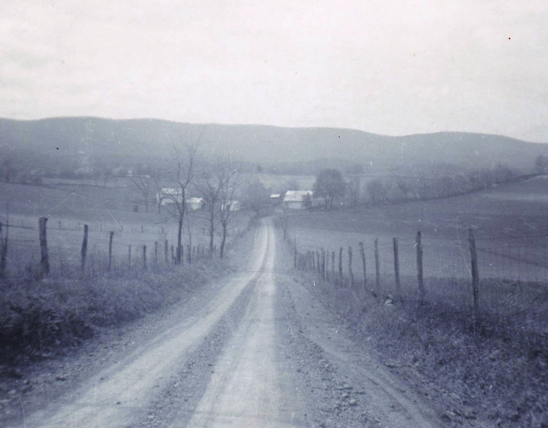 An image of a road in 1940's Mount Solon, Virginia